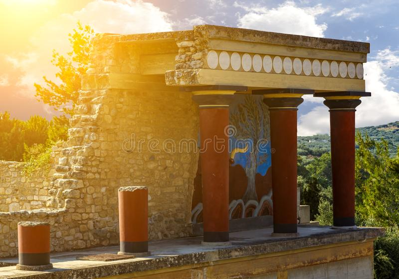 Reconstructed temple at Palace of Knossos on Crete Island in Greece stock photography