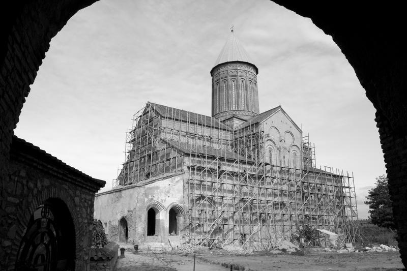 Reconstruction of the old cathedral stock photography