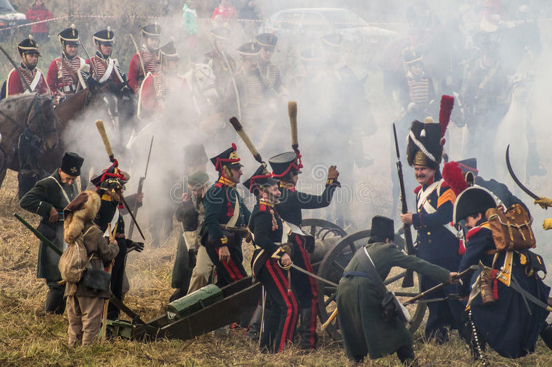 Reconstruction of battles of the Patriotic war of 1812 Russian city Maloyaroslavets. Battle of Maloyaroslavets — the largest battle of the Patriotic war stock image