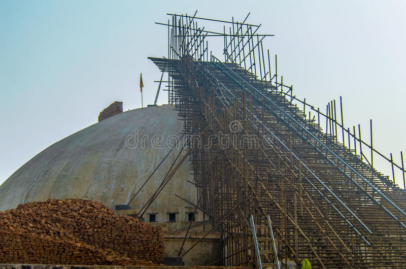The reconstruction. Of Boudha Stupa after the earthquake in Nepal stock photo