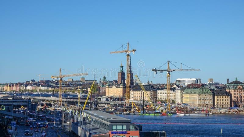 Reconstruction de la région d'écluse dans suédois : SlussenomrÃ¥det ou Slussen localement images stock