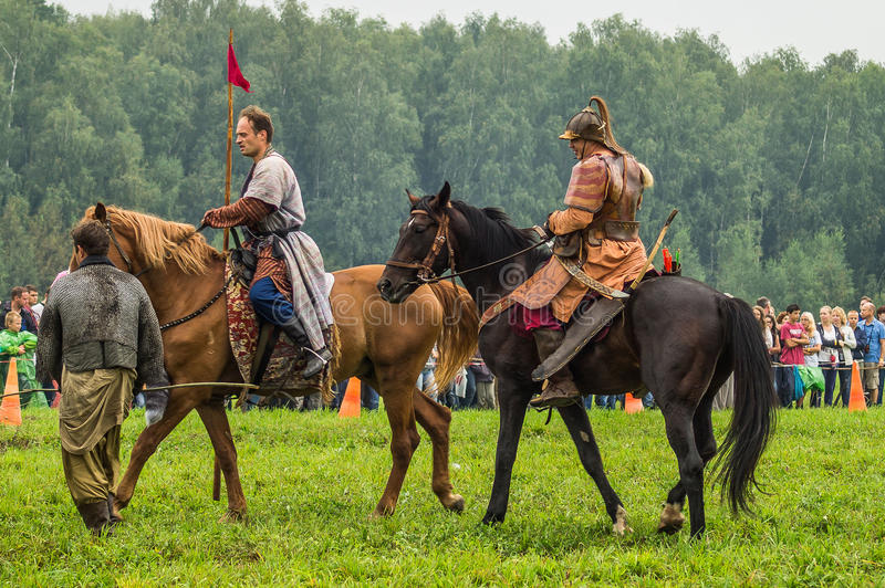 Reconstruction of the historic battle of the ancient Slavs in the fifth festival of historical clubs in Zhukovsky district of. Kaluga region of Russia. In royalty free stock image