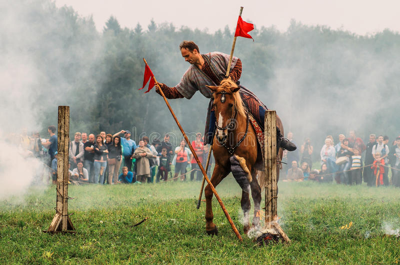 Reconstruction of the historic battle of the ancient Slavs in the fifth festival of historical clubs in Zhukovsky district of. Kaluga region of Russia. In royalty free stock photography