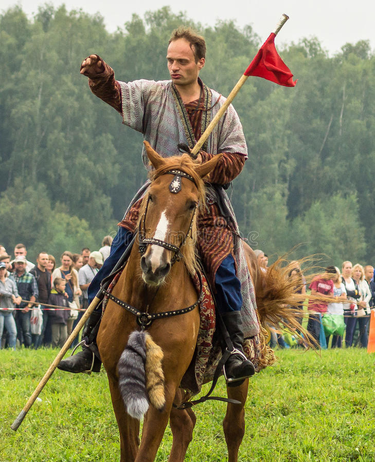 Reconstruction of the historic battle of the ancient Slavs in the fifth festival of historical clubs in Zhukovsky district of. Kaluga region of Russia. In royalty free stock photos
