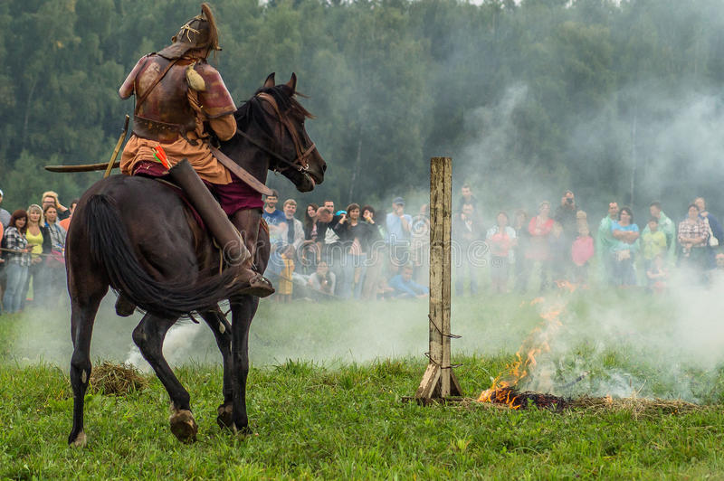 Reconstruction of the historic battle of the ancient Slavs in the fifth festival of historical clubs in Zhukovsky district of. Kaluga region of Russia. In stock image
