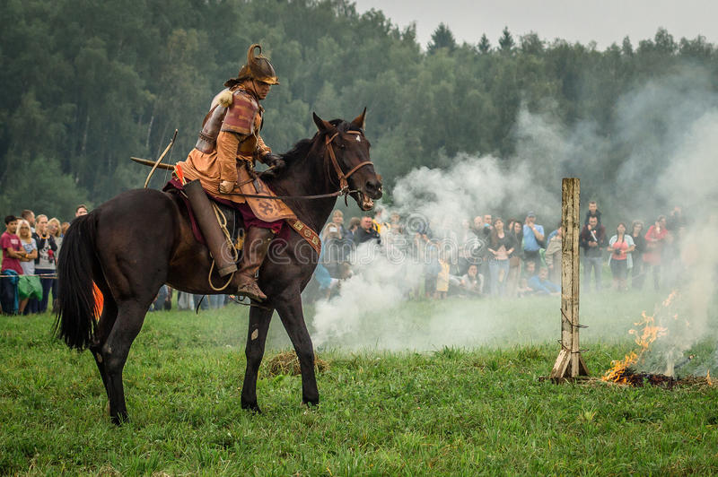 Reconstruction of the historic battle of the ancient Slavs in the fifth festival of historical clubs in Zhukovsky district of. Kaluga region of Russia. In stock photography