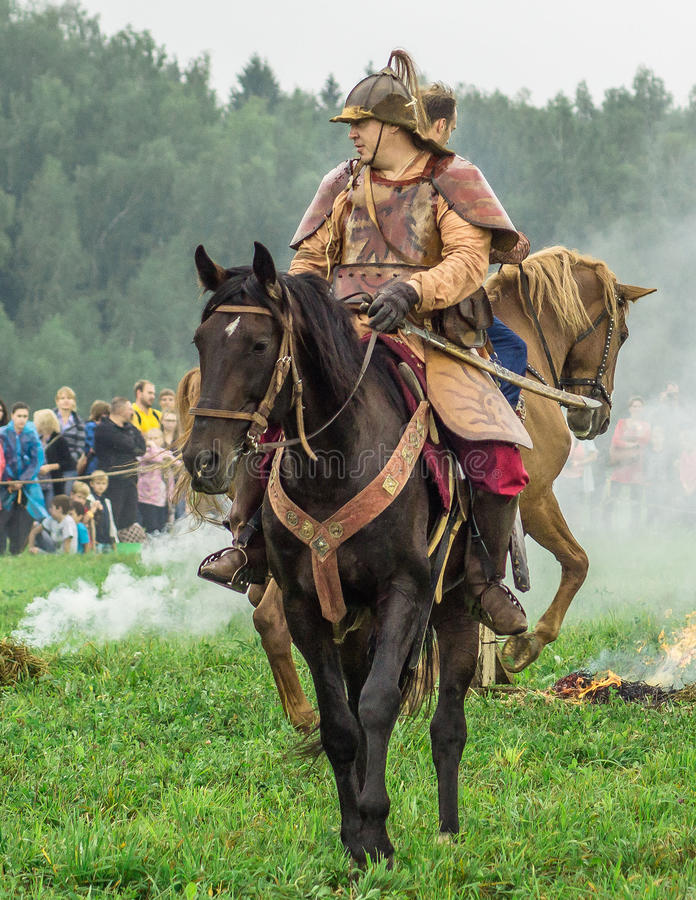 Reconstruction of the historic battle of the ancient Slavs in the fifth festival of historical clubs in Zhukovsky district of. Kaluga region of Russia. In royalty free stock photo