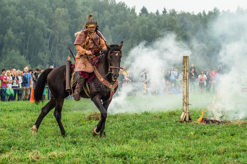 Reconstruction of the historic battle of the ancient Slavs in the fifth festival of historical clubs in Zhukovsky district of. Kaluga region of Russia. In stock photos