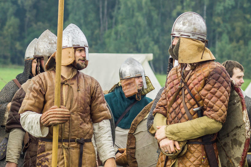 Reconstruction of the historic battle of the ancient Slavs in the fifth festival of historical clubs in Zhukovsky district of. Kaluga region of Russia. In stock images