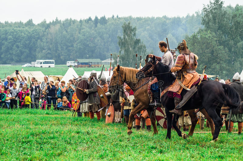 Reconstruction of the historic battle of the ancient Slavs in the fifth festival of historical clubs in Zhukovsky district of. Kaluga region of Russia. In royalty free stock images
