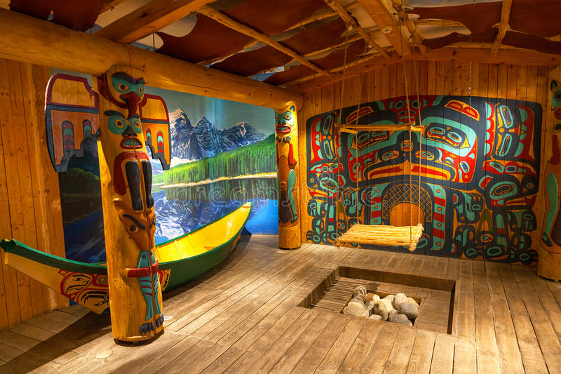 Reconstruction of the interior of the canadian aboriginal royalty free stock images