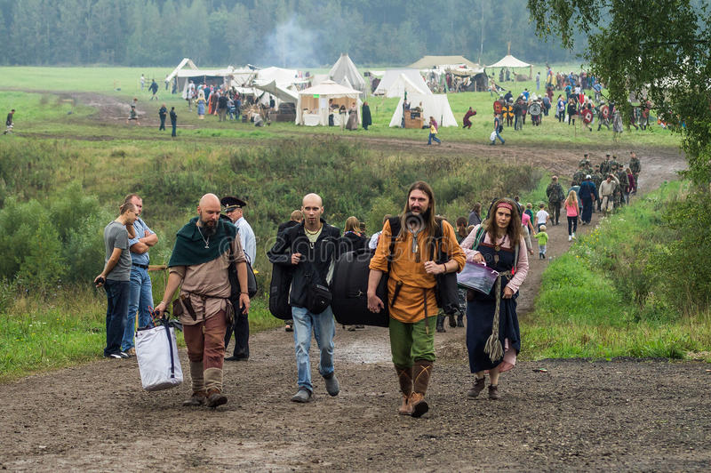 Reconstruction of life of ancient Slavs on the festival of historical clubs in Zhukovsky district of Kaluga region of Russia. In recent years, Russia became royalty free stock photos