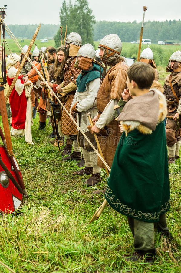Reconstruction of life of ancient Slavs on the festival of historical clubs in Zhukovsky district of Kaluga region of Russia. In recent years, Russia became stock photo