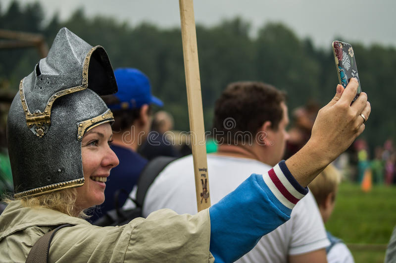 Reconstruction of life of ancient Slavs on the festival of historical clubs in Zhukovsky district of Kaluga region of Russia. In recent years, Russia became stock image