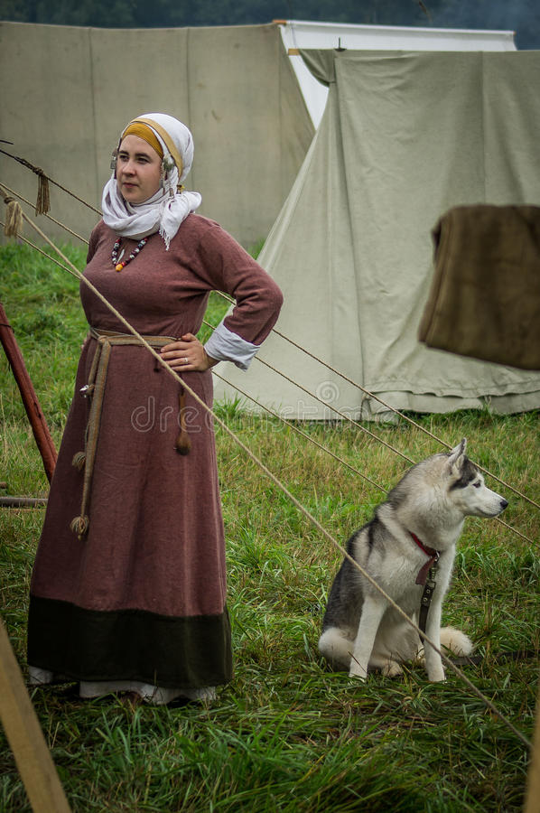 Reconstruction of life of ancient Slavs on the festival of historical clubs in Zhukovsky district of Kaluga region of Russia. In recent years, Russia became royalty free stock photography
