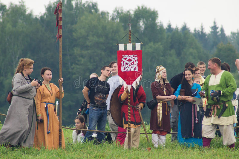 Reconstruction of life of ancient Slavs on the festival of historical clubs in Zhukovsky district of Kaluga region of Russia. In recent years, Russia became royalty free stock images