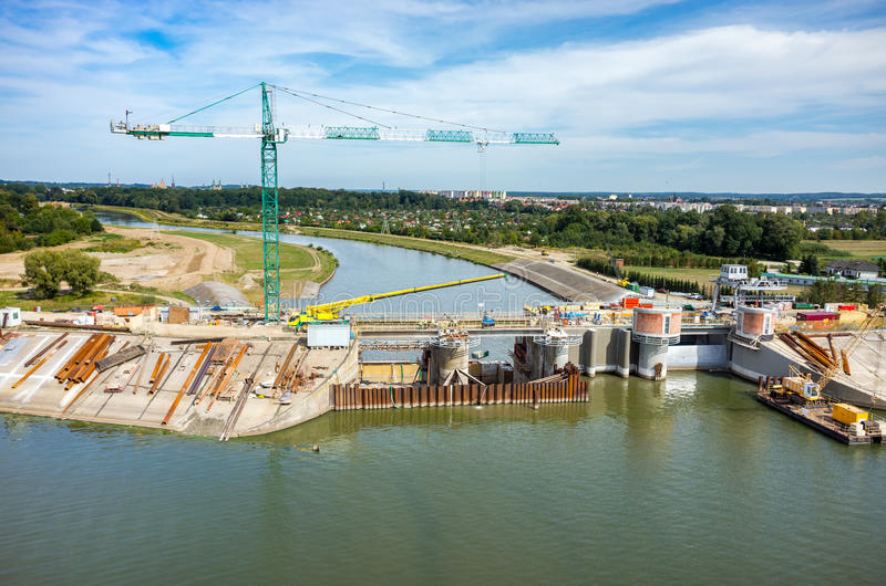 Reconstruction moderne de barrage photo libre de droits