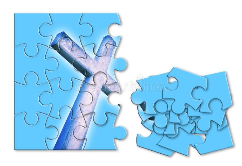 Reconstruction ou perte de notre foi - image croisée chrétienne de concept dans la forme de puzzle denteux image stock