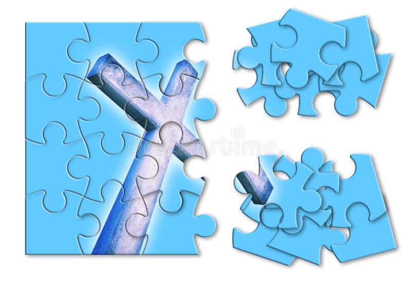 Reconstruction ou perte de notre foi - image croisée chrétienne de concept dans la forme de puzzle denteux photos libres de droits