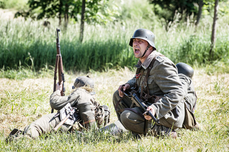 Reconstruction of the Second World War, german noncommissioned o. NITRA, SLOVAK REPUBLIC - MAY 21: Reconstruction of the Second World War operations between Red royalty free stock images