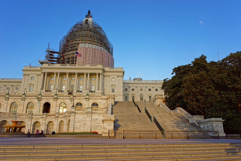 Reconstruction of the United States Capitol. United States Capitol is being reconstructed at the picture. It can be found in the capital of the United States stock image
