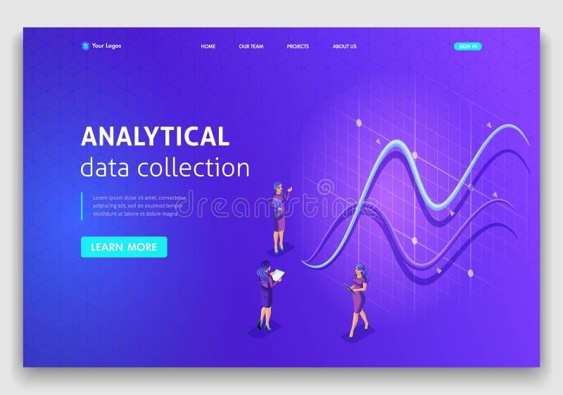 Recopilación de datos analítica del concepto isométrico de la página del aterrizaje de la plantilla de la página web Fácil correg libre illustration