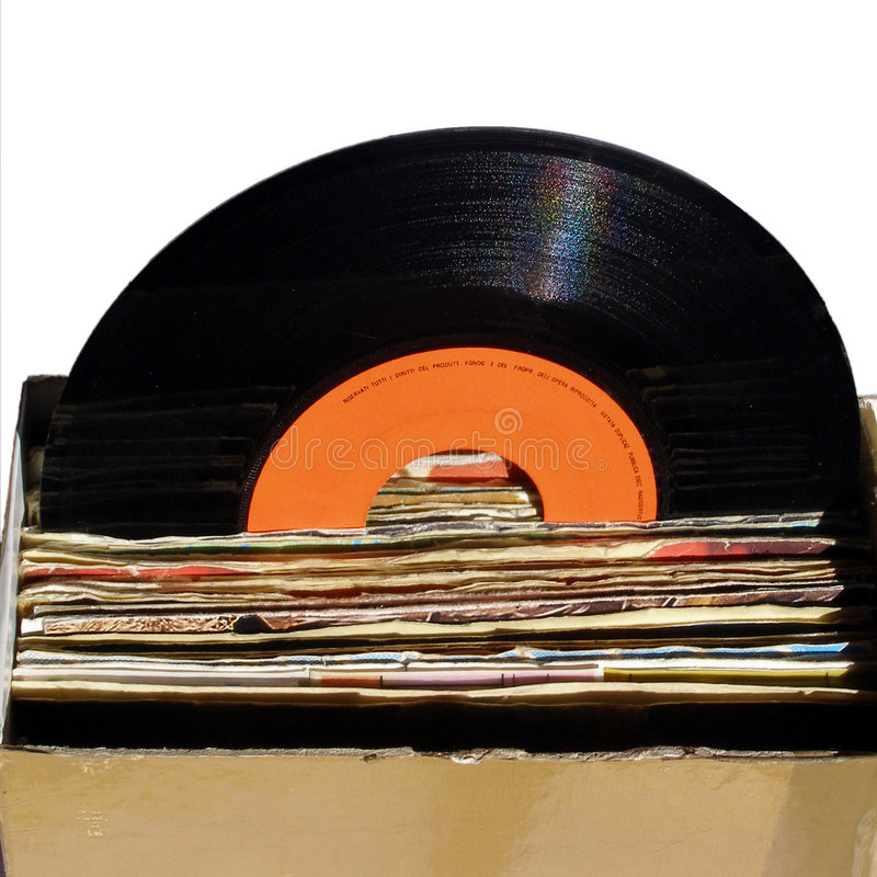 Record collection. Collection of single 45 rpm records royalty free stock photos