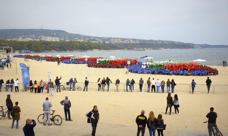 Record del mondo di guinness messo sulla spiaggia Bulgaria di Varna immagini stock libere da diritti