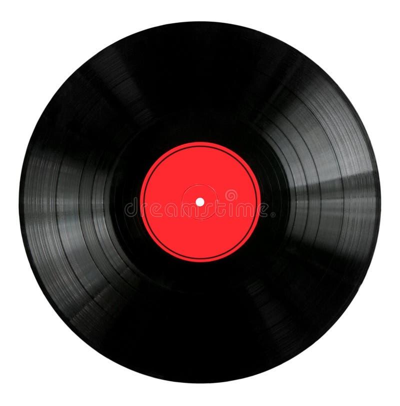 Record di vinile con il contrassegno rosso immagine stock