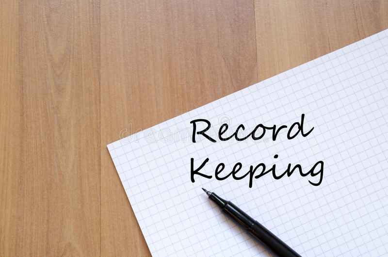 Record keeping write on notebook stock images