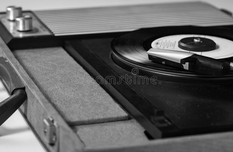 Record player B&W. A nice view of older record player.(Black and White version stock photos
