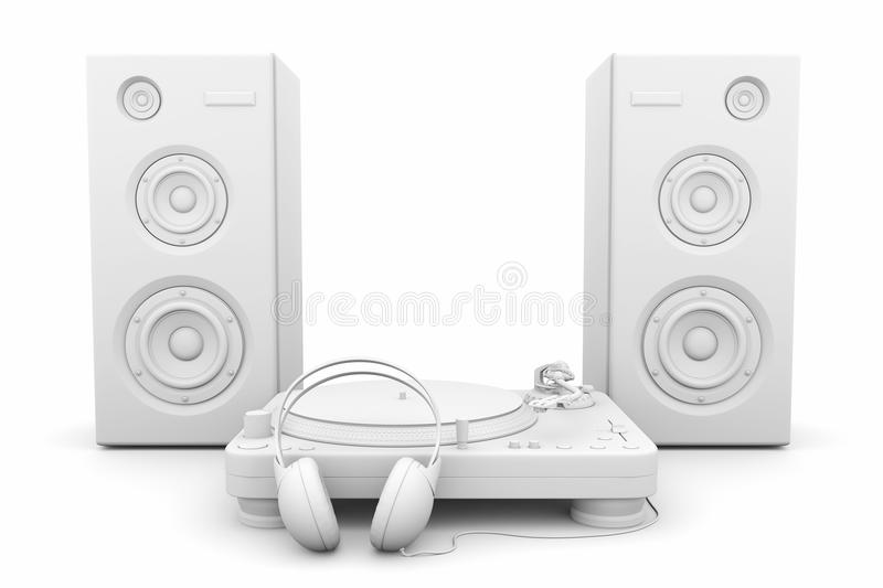 Record player, headphones and speakers vector illustration