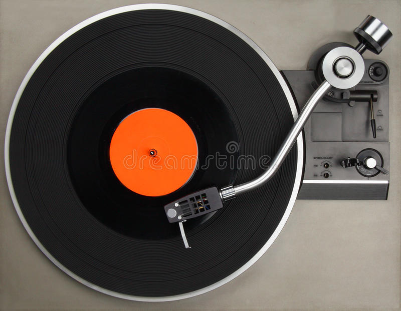 Record player with phonorecord stock photos