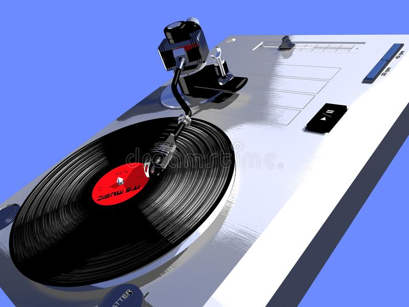 Record player with a turning vinyl stock illustration