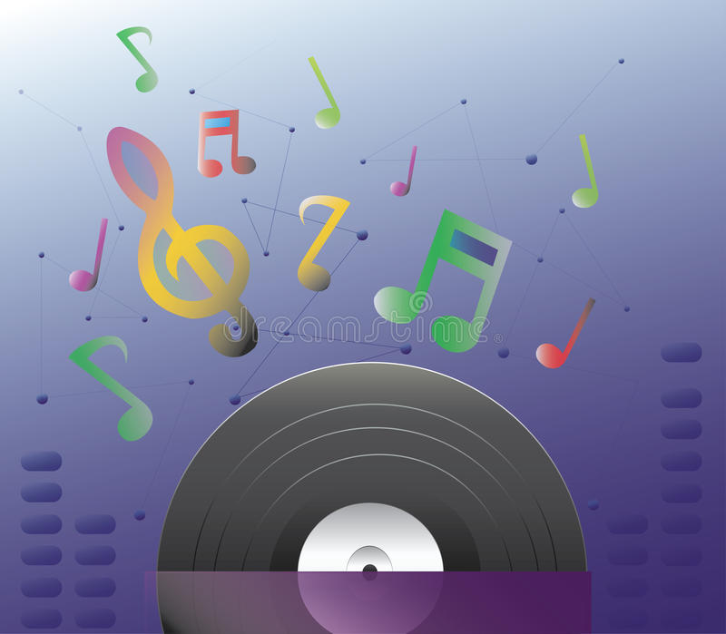 The record and sound vector illustration