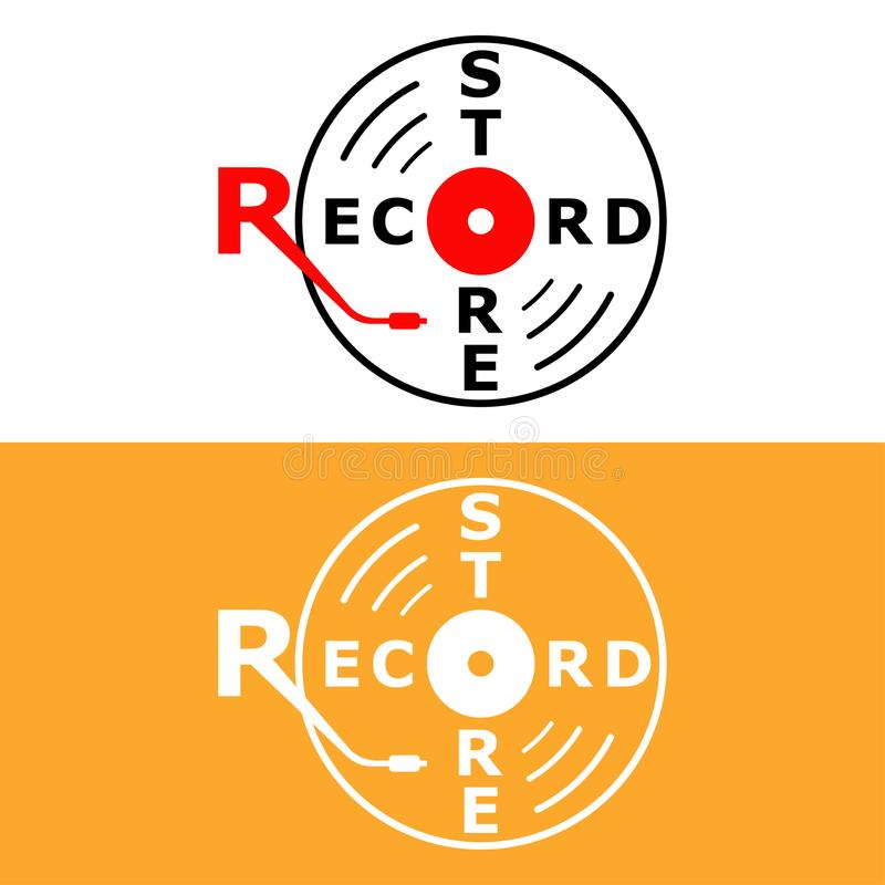 Record store flat minimalist logo design with gramophone needle and a record vector illustration