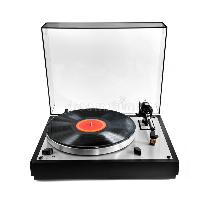 Record on turntable. Isolated manual record player with spinning vinyl lp royalty free stock photos