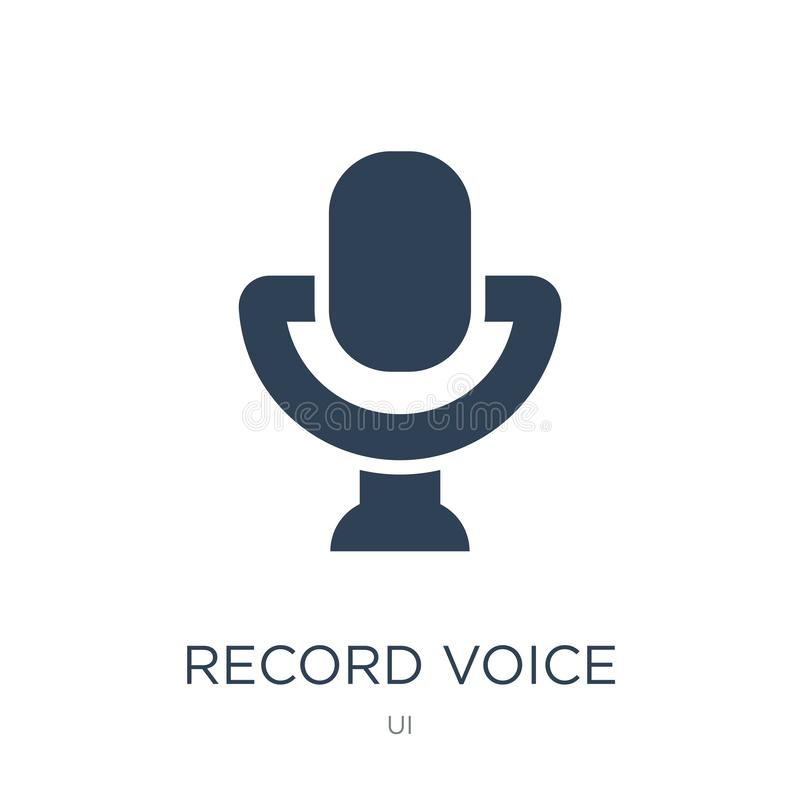 Record voice button icon in trendy design style. record voice button icon isolated on white background. record voice button vector. Icon simple and modern flat royalty free illustration