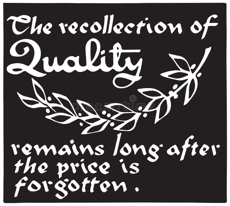 A recordação da qualidade ilustração do vetor