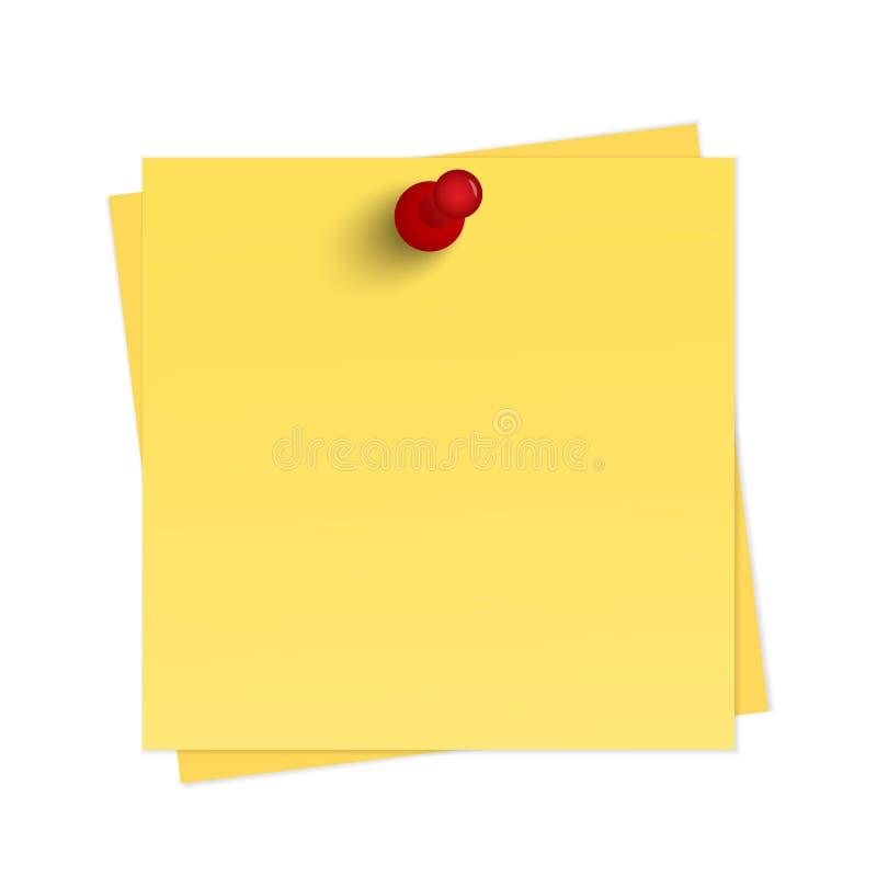 Recordatorio amarillo con el perno ilustración del vector
