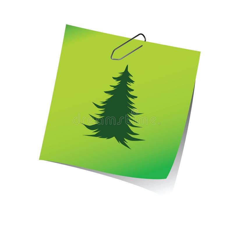 Recordatorio con vector del verde del árbol de pino libre illustration