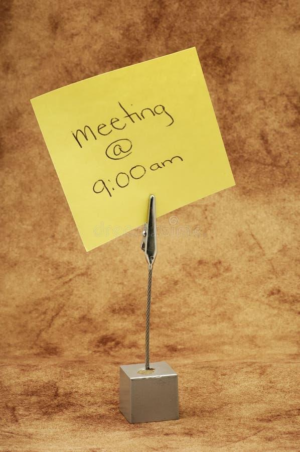 Recordatorio de la reunión fotografía de archivo libre de regalías