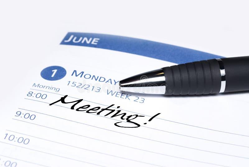Recordatorio de la reunión del calendario imágenes de archivo libres de regalías