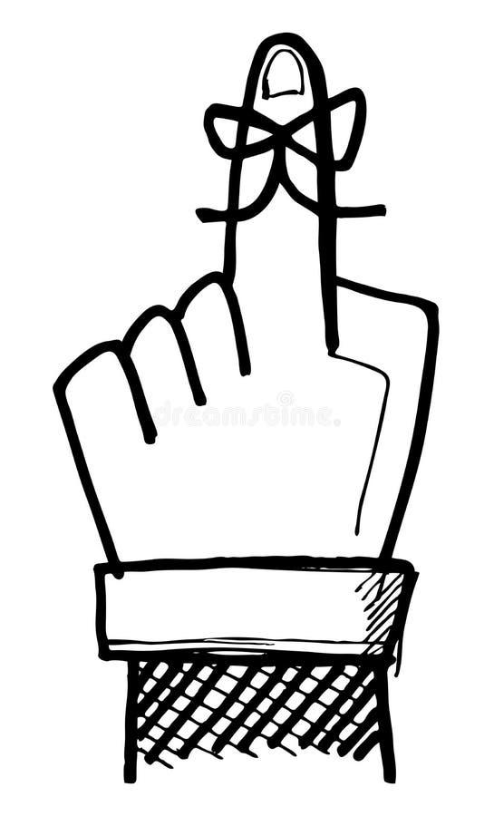 Recordatorio del dedo ilustración del vector
