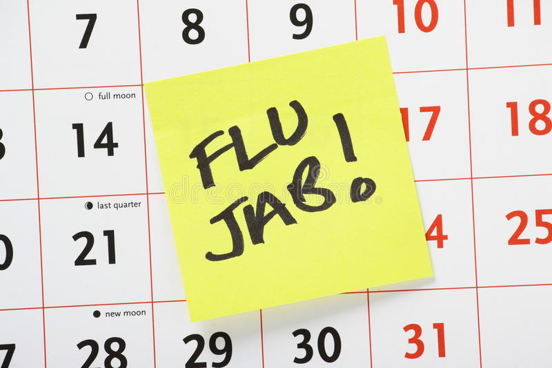 Recordatorio del pinchazo de la gripe fotos de archivo libres de regalías