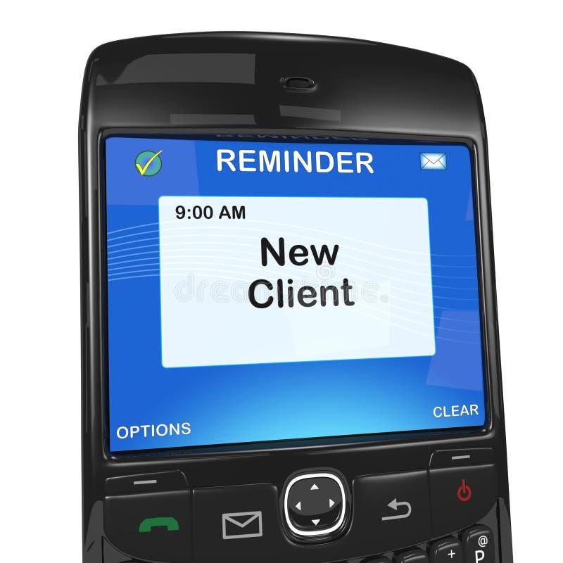 Recordatorio elegante del teléfono, nuevos clientes ilustración del vector