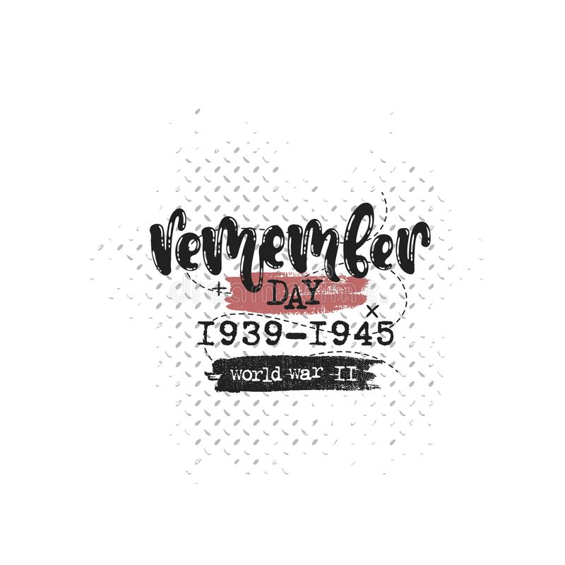 Recorde a guerra mundial do dia ilustração do vetor