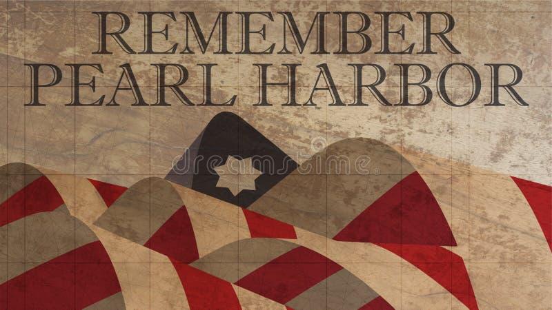 Recorde a ilustração do Pearl Harbor Bandeira americana na madeira ilustração stock