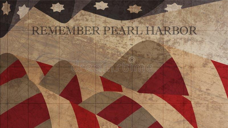 Recorde a ilustração do Pearl Harbor Bandeira dos Estados Unidos na madeira ilustração royalty free