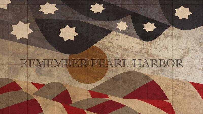 Recorde a ilustração do Pearl Harbor Os EUA embandeiram com Sun na madeira ilustração stock